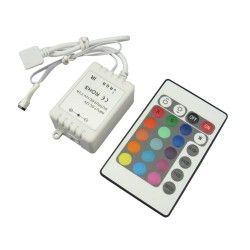 12V RGB RGB controller med fjernkontroll - 12V, infrarød, 60W