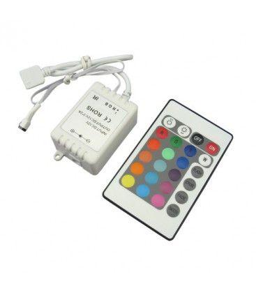 RGB controller med fjernkontroll - 12V (72W), 24V (144W), infrarød