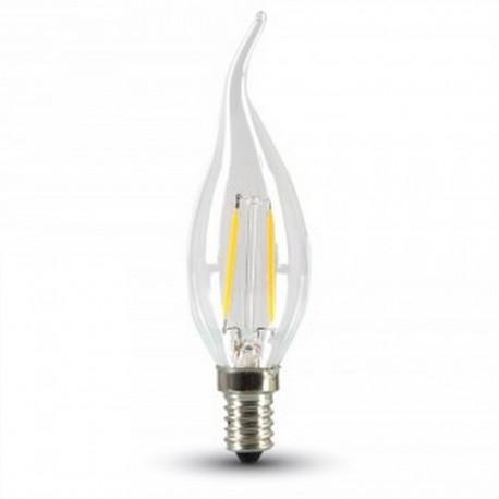 2W LED flamme pære - karbon filamenter, varm hvit, E14