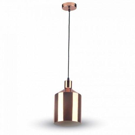 V-Tac kobber pendellampe - rosa/gull, Ø17 cm, E27