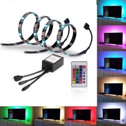 12V RGB USB TV-stemningslys i LED med skiftende farger - 2 lister, 50 cm per liste, RGB