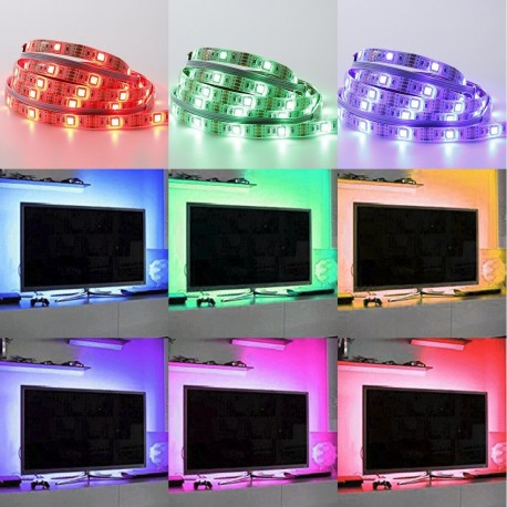 USB TV-stemningslys i LED med skiftende farger - 4 lister, 50 cm per liste, RGB