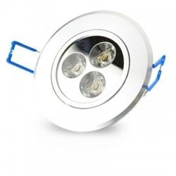 LED downlights 3W downlight - Hull: Ø7-8 cm, Mål: Ø8,4 cm, 4 cm høy, dimbar, 12V