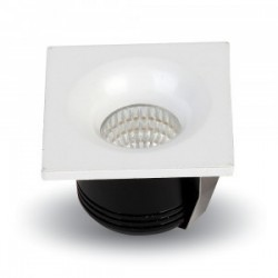 V-Tac 3W LED downlight - Hull: Ø3,5 cm, Mål: 4,5x4,5 cm, 230V