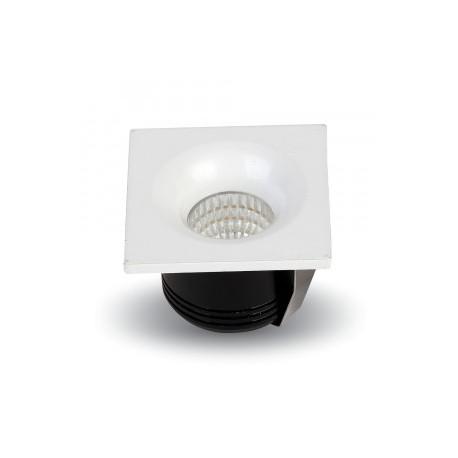 V-Tac 3W LED downlight - Hull: Ø3,5 cm, Mål: 4,5x4,5 cm, 230V