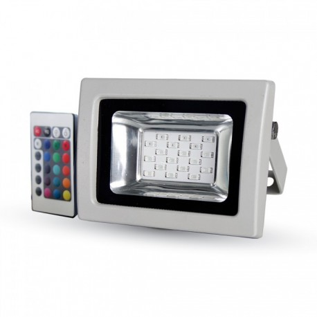 V-Tac 10W LED lyskaster RGB - Med infrarød fjernkontroll, utendørs