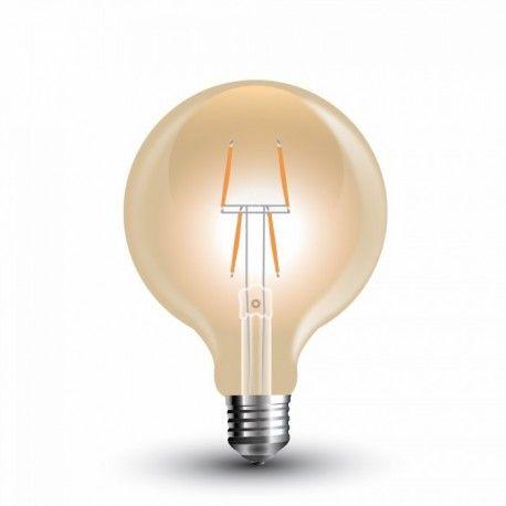 V-Tac 4W LED globe pære - Karbon filamenter, Ø8 cm, ekstra varm hvit, E27