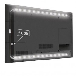 LED strips USB TV-stemningslys LED kald hvit - 2 lister, 50 cm per liste