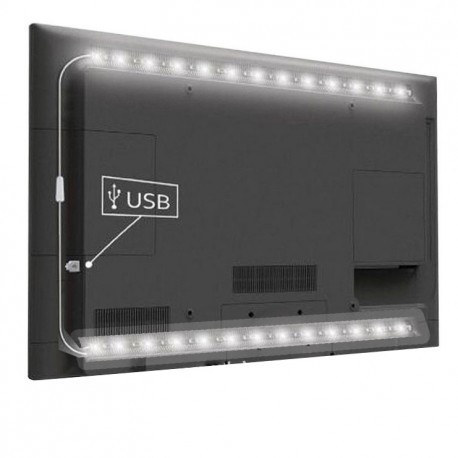 USB TV-stemningslys LED kald hvit - 2 lister, 50 cm per liste