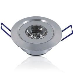 LED downlights Downlight, 1W, 230V, Ø5,2 cm - 2m ledning, Høyde: 2,2cm, Hull: Ø4,4-4,8cm, varm hvit
