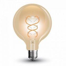 E27 LED V-Tac 5W LED globe pære - Karbon filamenter, Ø12,5 cm, ekstra varm hvit, E27