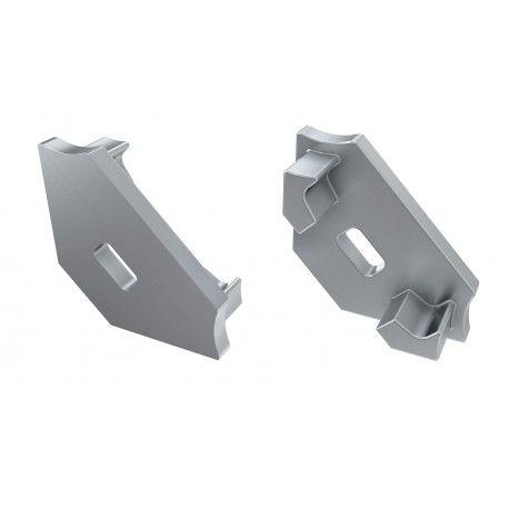 Ender for aluprofil Type C - 2 stk, grå