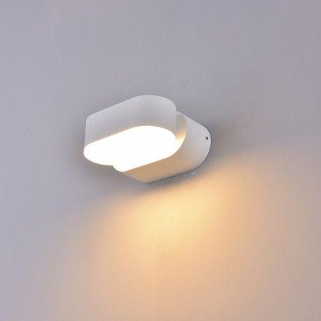 V-Tac 6W LED hvit vegglampe - Oval, roterbar 350 grader, IP65 utendørs, 230V, inkl. lyskilde