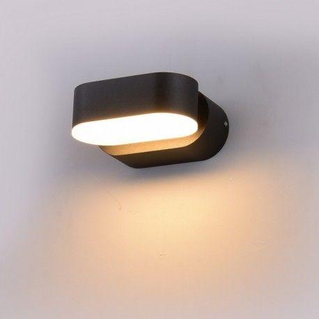 V-Tac 6W LED svart vegglampe - Oval, roterbar 350 grader, IP65 utendørs, 230V, inkl. lyskilde
