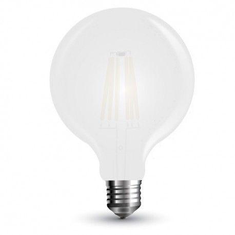 V-Tac 7W LED globe pære - Karbon filamenter, Ø9,5 cm, mattert, E27