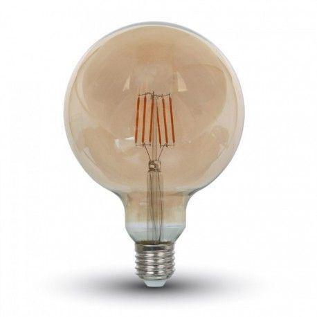 V-Tac 6W LED globe pære - Karbon filamenter, Ø12,5 cm, ekstra varm hvit, E27