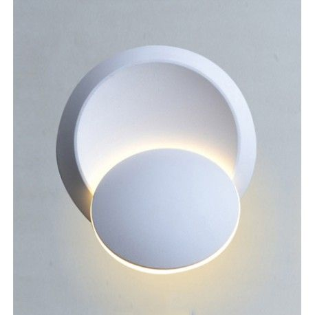 V-Tac 5W LED hvit vegglampe - Rund, roterbar, IP44 utendørs, 230V, inkl. lyskilde