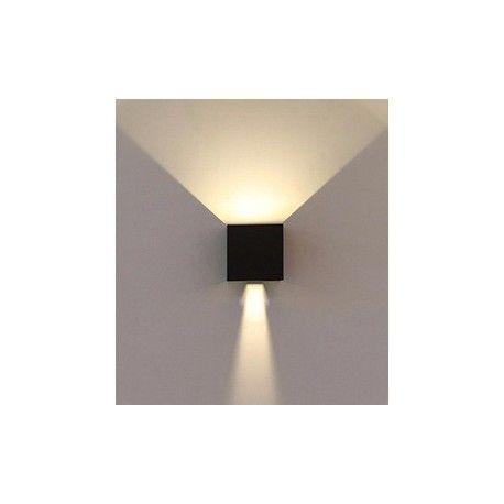 V-Tac 6W LED svart vegglampe - Firkantet, justerbar spredning, IP65 utendørs, 230V, inkl. lyskilde