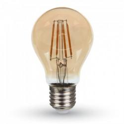 E27 LED V-Tac 4W LED pære - Samsung LED chip, karbon filamenter, røkt glass, ekstra varm, 2200K, A60, E27