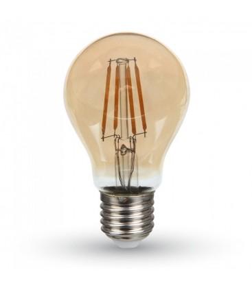 V-Tac 4W LED pære - Samsung LED chip, karbon filamenter, røkt glass, ekstra varm, 2200K, A60, E27