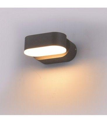 V-Tac 6W LED grå vegglampe - Oval, roterbar 350 grader, IP65 utendørs, 230V, inkl. lyskilde