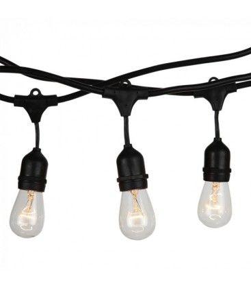 V-Tac lyskæde til 15 stk. E27 pærer - 15 meter, IP54, 230V, uten lyskilde