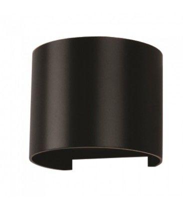 V-Tac 6W LED svart vegglampe - Rund, justerbar spredning, IP65 utendørs, 230V, inkl. lyskilde