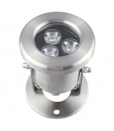 8W LED lyskaster - Varm hvit, IP68, 100% vanntett, Rustfri, 12V