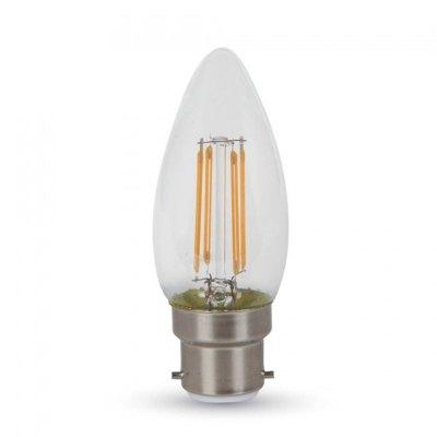 V-Tac 4W LED stearinlyspære - Samsung LED chip, Karbon filamenter, B22, Kulør: Varm, Dimbar: Ikke dimbar