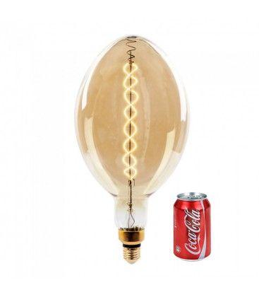 V-Tac 8W LED kjempe globepære - Karbon filamenter, Ø18 cm, dimbar, ekstra varm hvit, 2200K, E27