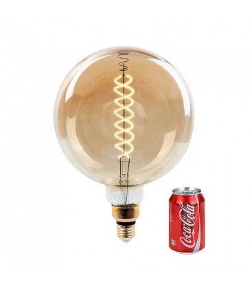 V-Tac 8W LED kjempe globepære - Karbon filamenter, Ø20 cm, dimbar, ekstra varm hvit, E27