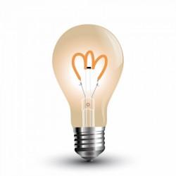 E27 LED V-Tac 3W LED pære - karbon filamenter, røkt glass, ekstra varm hvit, 2200K, A60, E27