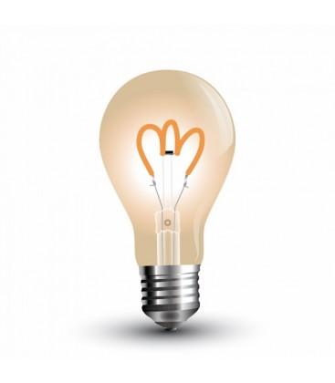 V-Tac 3W LED pære - karbon filamenter, røkt glass, ekstra varm, 2200K, A60, E27