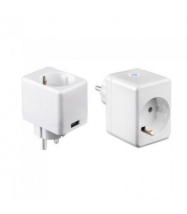 V-Tac Smart Home Wifi stikkontakt - Virker med Google Home, Alexa og smartphones, med USB uttak, 230V