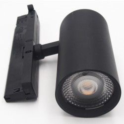 Lamper LEDlife svart skinnespot 30W - Flicker free, Citizen LED, RA90, 3-faset