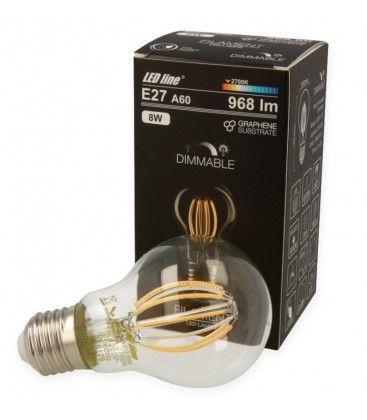 8W LED pære - Karbon filamenter LED, E27, A60D
