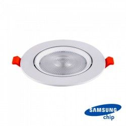 Downlights V-Tac 10W LED spotlight - Hull: Ø8 cm, Mål: Ø9,5 cm, 3 cm høy, Samsung LED chip, 230V