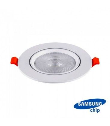 V-Tac 10W LED downlight - Hull: Ø8 cm, Mål: Ø9,5 cm, 3 cm høy, Samsung LED chip, 230V