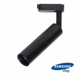 Skinnesystem LED V-Tac skinnespot 7W - Flott design, 3-faset, LED Samsung chip, Farge: Svart