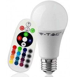 V-Tac 9W RGB LED pære - Med RF fjernkontroll, E27