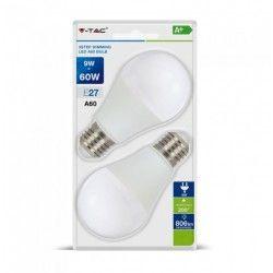 E27 LED V-Tac 9W LED pære, 3-trinns dimbar - A60, varm hvit, E27