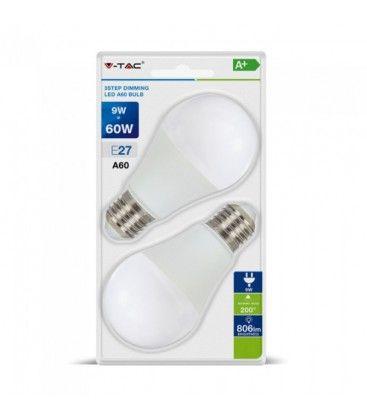V-Tac 9W LED pære, 3-trinns dimbar - A60, varm hvit, E27