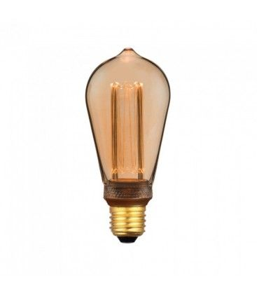V-Tac 4W LED pære - Karbon filamenter, røkt glass, ekstra varm hvit, 1800K, ST64, E27