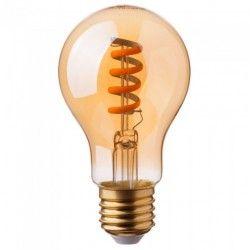 LED lyskilder V-Tac 4W LED pære - Spiral karbon filamenter, røkt glass, ekstra varm hvit, 2200K, A60, E27