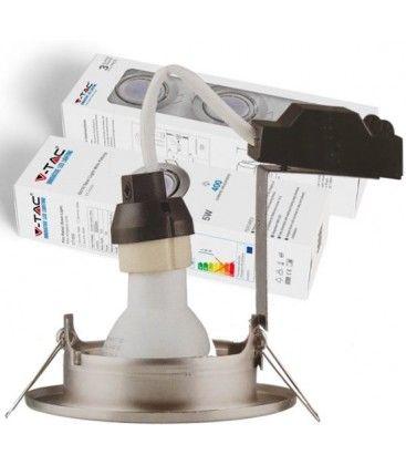 V-Tac 3-pak downlights med 5W lyskilde - Stål front, komplett med GU10 holder og LED spotter, innendørs