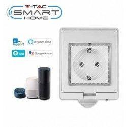 LED lyskilder V-Tac Smart Home vanntett Wifi stikkontakt - Virker med Google Home, Alexa og smartphones, 230V