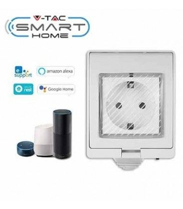 V-Tac Smart Home vanntett Wifi stikkontakt - Virker med Google Home, Alexa og smartphones, 230V