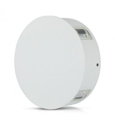 V-Tac 4W LED hvit vegglampe - Rund, IP65 utendørs, 230V, inkl. lyskilde