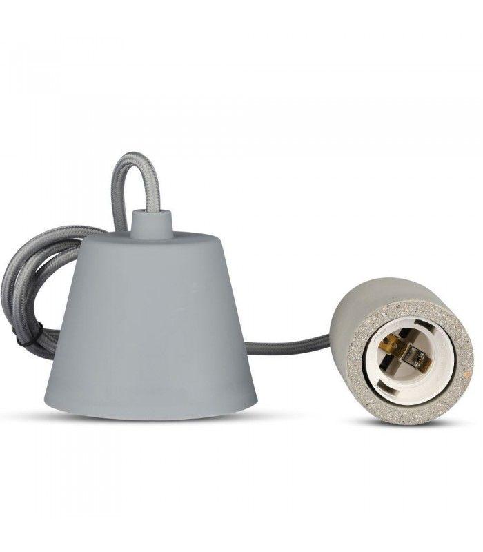 V Tac designer lampefatning Beton, E27 LEDLyskilder.no